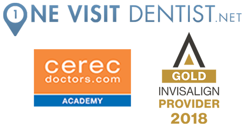 Professional logos - CEREC, INVISALIGN, ONE VISIT